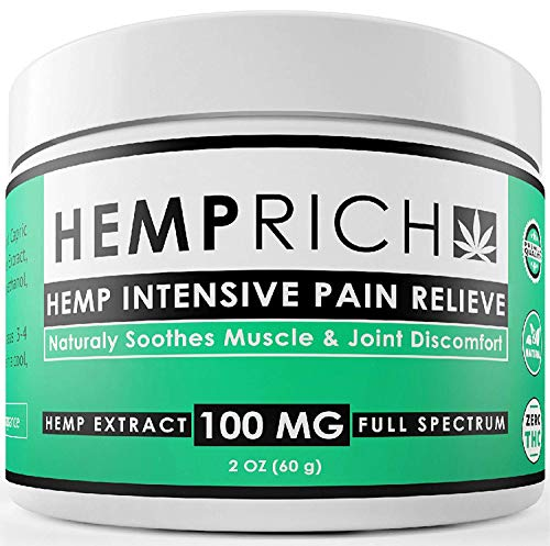 Hemp Extract Pain Relief Cream - 100 Mg - Made in USA - Contains Arnica