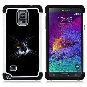 - Black & White Cat Nose Moustache/ H??brido 3in1 Deluxe Impreso duro Soft Alto Impacto caja de la armadura Defender - SHIMIN CAO - For Samsung Galaxy Note 4 SM-N910 N910
