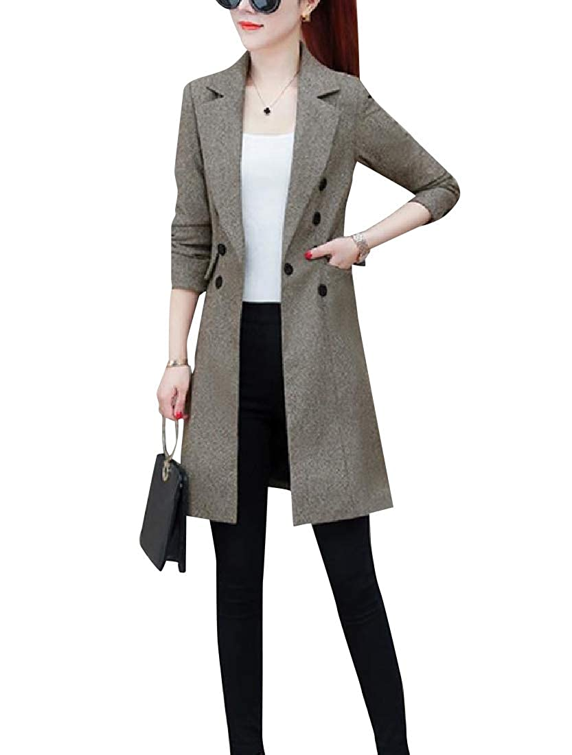 Coffee SpaceAngel Womens AllMatch Fashionable Thin Slim Fitted Career Outwear Coat