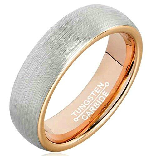 Beydodo Tungsten Ring For Women Men Gothic Biker Ring,Smooth Simple Design Silver Rose Gold Size 7