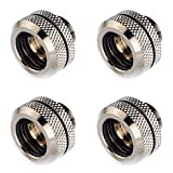 Bitspower G1/4'' to Enhance Multi-Link Fitting for 14mm OD Rigid Tubing (For Use with Bitspower Rigid Tubing Only), Black Sparkle, 4-pack