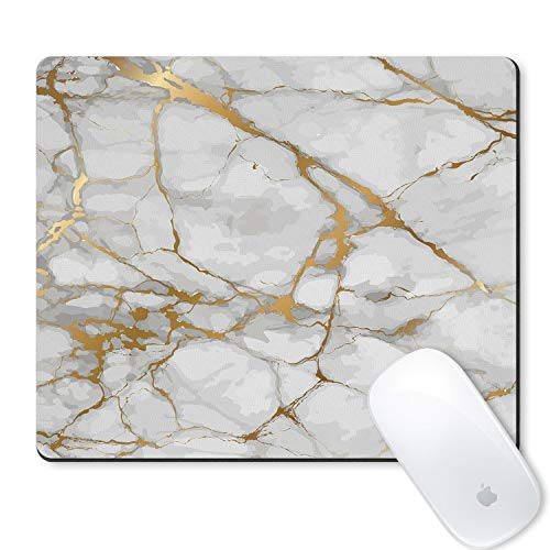 Galdas Mouse Pad White Marble Gold Grain Watermark Background Design Mousepad Non Slip Rubber Gaming Mouse Pad