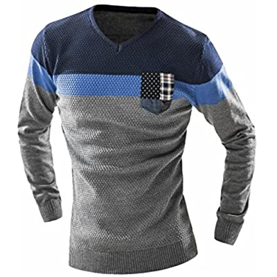 New ONTBYB Mens Casual Colorblock V-Neck Patch Slim Knitted Pullover Sweater