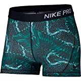 NIKE Women's Pro 3'' Print Chain Feather Short Neptune Green/Black Small