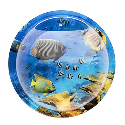 Wandaquarium, NNIUK 23cm Durchmesser Der Wand Befestigtes Aquarium Deluxe Acryl Pflanze Wandbehang Berg Blase Aquarium-Schüssel-Fisch-Behälter für Hauptdekoration (Blauer Fisch)