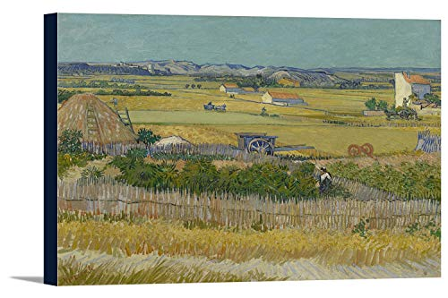 The Harvest - Masterpiece Classic - Artist: Vincent Van Gogh c. 1888 (36x24 Gallery Wrapped Stretched - 1888 Canvas Stretched