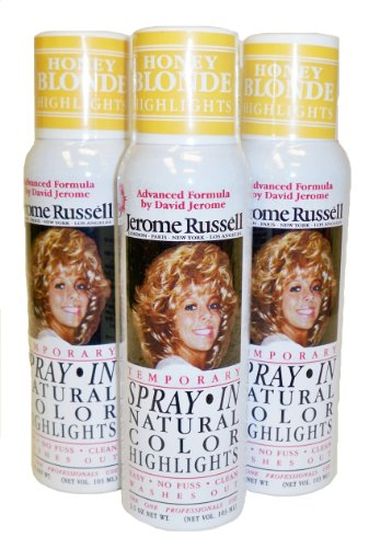 Jerome Russell Hair Color Spray Highlights - Shampoos Out - 3 Cans (Honey - Hair Honey Blonde Spray