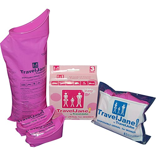 TravelJohn Disposable Urinal Packs for Women, 4.75 x 2 x 4.38-Inch, -