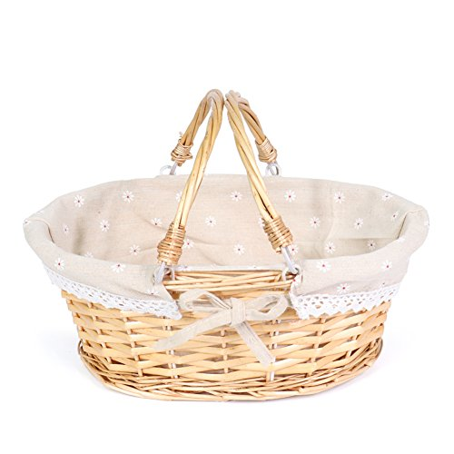 MEIEM Wicker Basket Gift Baskets Empty Oval Willow Woven Picnic Basket Cheap Easter Candy Basket Storage Wine Basket with Handle Egg Gathering Wedding Basket (Natural) (Cute Baskets For Gifts)