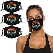 Retro Walleye Fishing 3 Pieces Face Masks Reusable Washable Adjustable Disposable Black Cloth Balaclavas Banda
