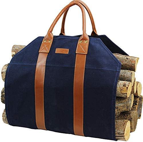 INNO STAGE Log Carrier Waxed Canvas Log Holder Firewood Carrier Tote Bag Fireplace Wood Stove Accessories