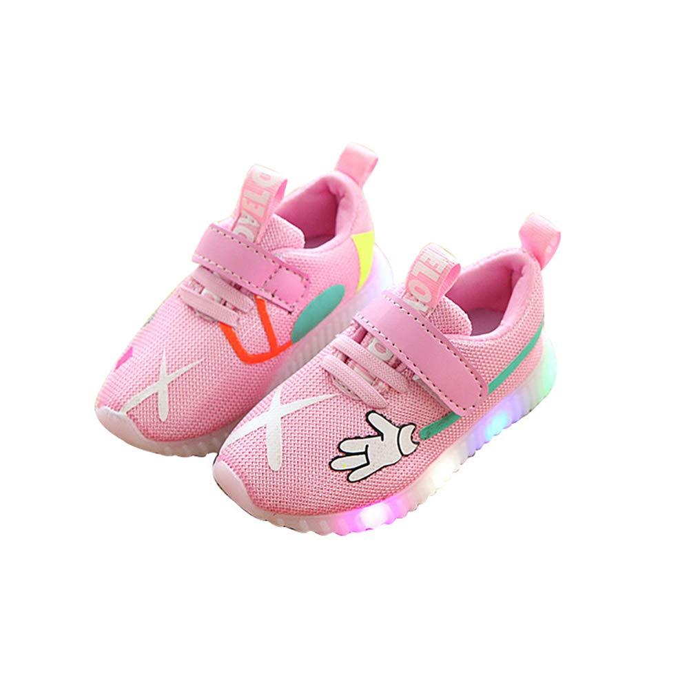 edv0d2v266 Toddler Kids Children Baby Striped Shoes LED Light up Luminous Sneakers(Pink 29/11.5MUSLittleKid)