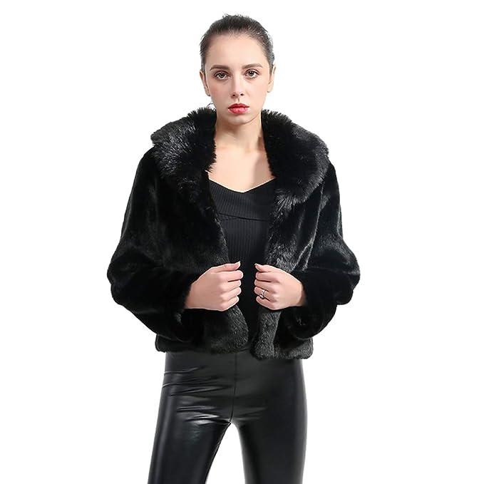 buy popular 8d09a 7e52c YuanDian Donna Autunno Inverno Corto Cappotto in Pelliccia ...