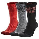 NIKE MENS 3PPK DRI FIT FLY CREW SOCKS (Large ( 8-12), Red Grey Black)