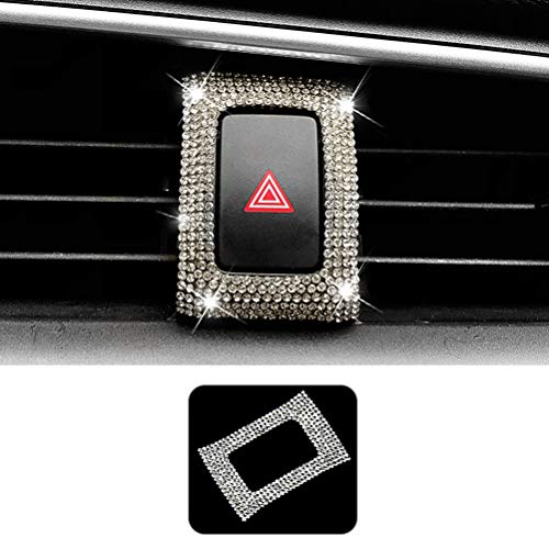 TopDall Hazard Light Storage Box Bling Crystal Accessory Interior Sticker for Honda Civic