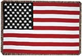 "United States American Flag 3 Layer Afghan Throw Blanket 50"" x 70"""