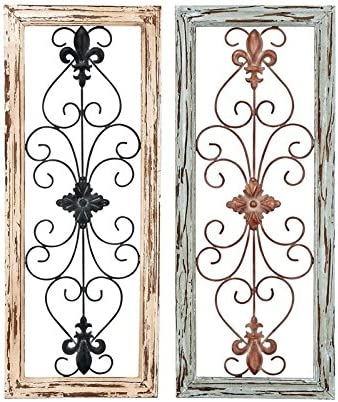 Deco 79 Wood Metal Wall Panel, 2 Assorted, 12 by 30