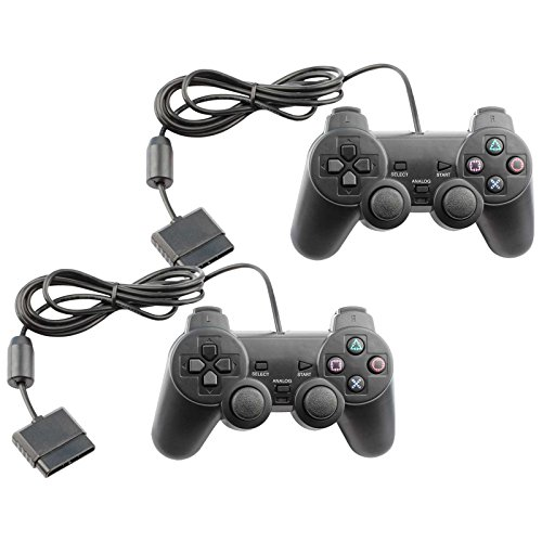 Controller for PS2 Playstation 2 Wired (Black) - 2 Pack