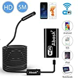 Wireless Endoscope, ABASK Semi-Rigid Flexible WiFi Borescope Inspection Camera 2.0 Megapixels HD Snake Camera, IP67 Waterproof Borescope with 8 Led Lights for iPhone, Android, iOS, Smartphone, Tablet