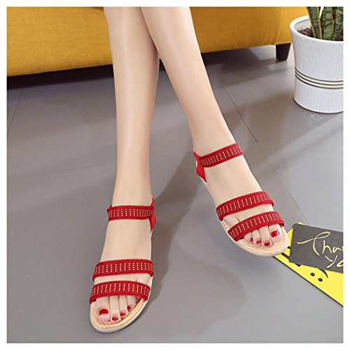 Inkach Shoes Peep Outdoor Bohemia Summer Toe Sandals Sandals Women Flat Red Elasticity Shoes TRRxqawS