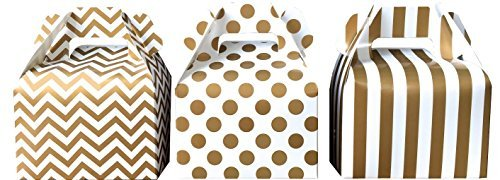 Outside the Box Papers Chevron, Stripe and Polka Dot Paper Gable Favor Boxes 36 Pack Gold, White]()