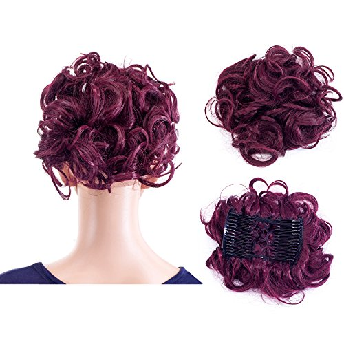 [SWACC Short Messy Curly Dish Hair Bun Extension Easy Stretch hair Combs Clip in Ponytail Extension Scrunchie Chignon Tray Ponytail Hairpieces (Dark Wine Red-99J#)] (Red Curly Hair Combs)