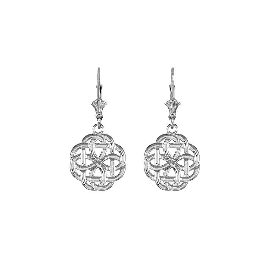 14k White Gold Triquetra Celtic Trinity Dangle Earrings
