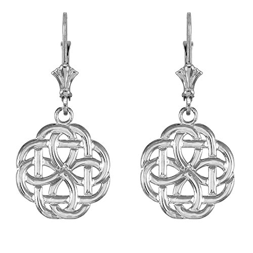 14k White Gold Triquetra Celtic Trinity Dangle Earrings