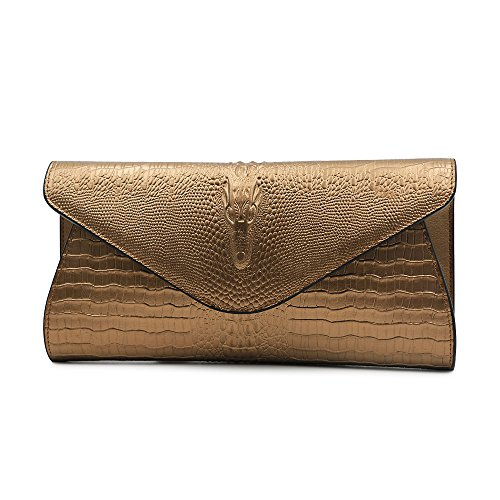 GeniuR Women's Handbags Clutch Genuine Leather Crocodile Evening Handbags Formal Party Clutches Handbag Daily Use Shoulder Bag (Bronze) (Leather Bronze Bag)