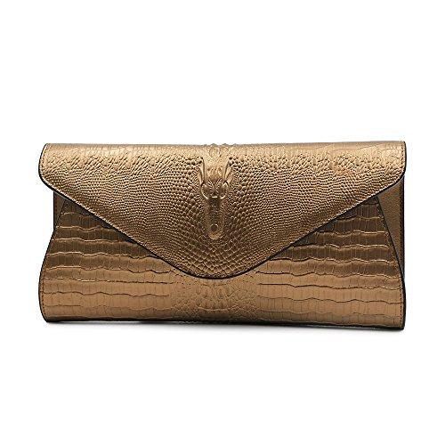 GeniuR Women's Handbags Clutch Genuine Leather Crocodile Evening Handbags Formal Party Clutches Handbag Daily Use Shoulder Bag (Bronze) -