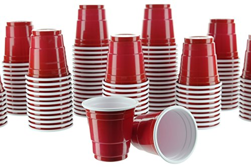 Party Bargains Mini Red Disposable Shot Glasses | Plastic Shot Cups, Jello Shots, Jager Bomb, Beer Pong, Perfect Size for Serving Condiments, Snacks, Samples and Tastings - 2oz | Pack -