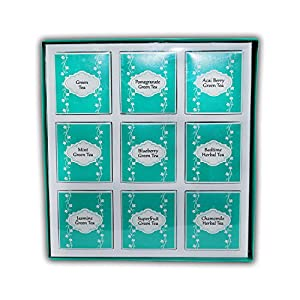 The Boston Tea Company Premium Teas Variety Sampler Pack for Green & Herbal 6 of Each Flavor 9 Varieties (54-Count)