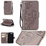 Camiter Grey Embossing Butterfly Design Premium PU Leather Wallet Folio Protective Skin Cover Case for Sony Xperia Z3 Compact /Z3 Mini(Build In Stand / Card Slot)