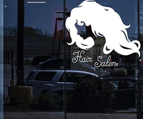 Window Sign for Business Vinyl Decal Silhouette Woman Face Long Wavy Hair Beauty Salon Wall Sticker (n977w) WHITE 22.5 in x 25 in