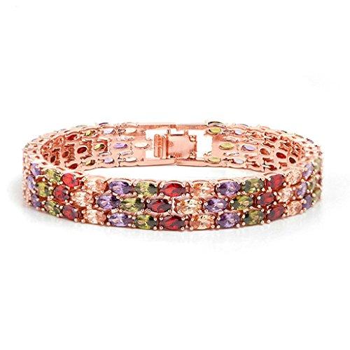 Daesar Gold Plated Bracelets Women Charm Bracelet Rainbow Rhinestone Bracelet Stone Marquise (Costume Shop South Rd)