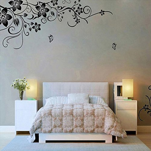70 Monogram (Wall Stickers,GOODCULLER Hee Grand Removable Vinyl Wall Sticker Mural Decal Art - Flowers and Vine Background Decorated Decal Home Decor 50 x70CM)