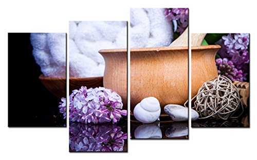 Spa  Wall Art Wooden Bowl and Purple Hyacinth 4 Pieces