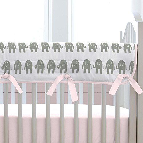 Carousel Designs Pink and Gray Elephants Crib Rail Cover by Carousel Designs