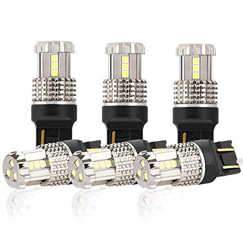 D-Lumina 6-Pack 7443 7444 992 W21/5W T20 LED Bulb White,Super Bright 6000k 1200Lumen 45W 15-SMD 3030 Chips For Back up Reverse Light,Brake Tail Lights,Parking Lamp or DRL