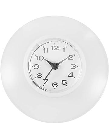 B Blesiya R/ésistant /à Eau Salle De Bains Douche Horloge Murale Porte Serviette blanc