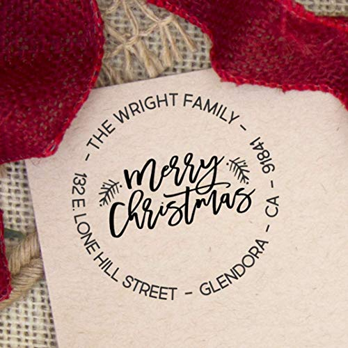 - Return Address Stamp Merry Christmas Holiday Self Inking Personalized Custom Stamper for Holiday Cards