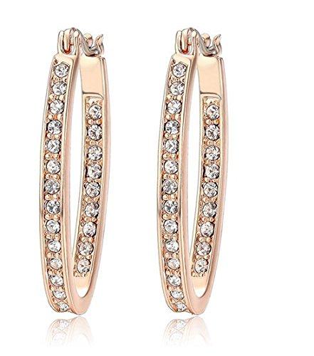 ee46e3450 Narlino Rose gold plated Swarovski crystals oval hoop earrings:  Amazon.co.uk: Jewellery