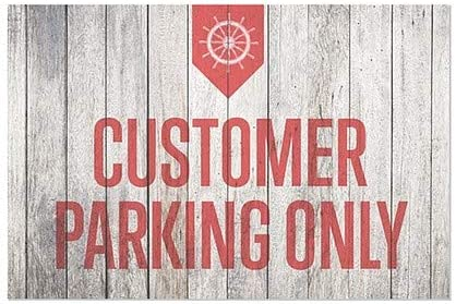Nautical Wood Clear Window Cling Customer Parking Only 30x20 5-Pack CGSignLab