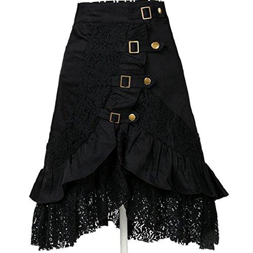 Gypsy Vintage Gonne ZhuiKun Donne Pizzo Hippie Gonne Vestiti Nero Steampunk Gotico P404UwHtq