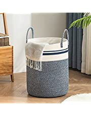 YOUDENOVA Woven Laundry Hamper, Cotton Rope Heavy Duty Laundry Basket, Tall Clothes Hampers with Handle for Storage Clothes, Toys and Blankets in Bedroom and Living Room-58L