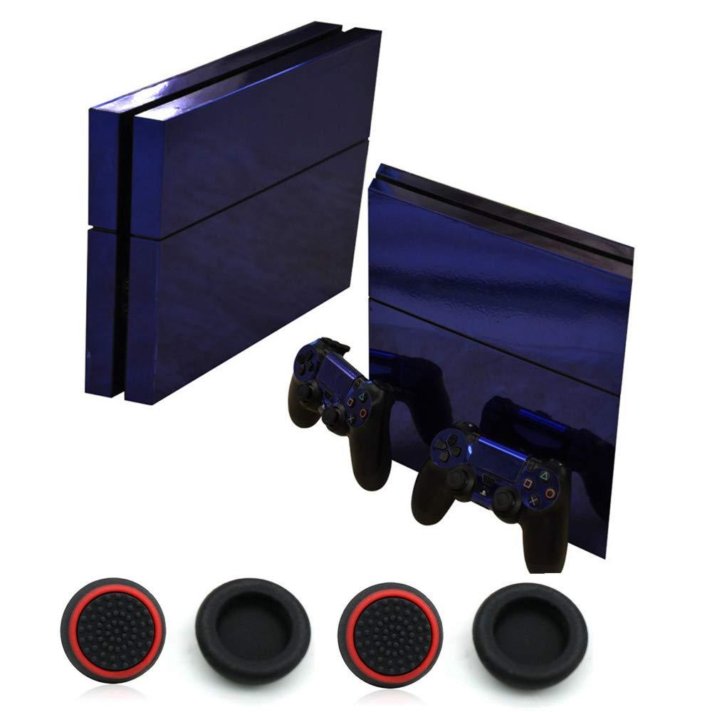 Sticker superb D/écalque Protecteur D/écalque Brillant Color/é Autocollants de Peau Playstation 4 Console PS4 Contr/ôleurs et 4 Pi/èces Capuchon de Pouce Or