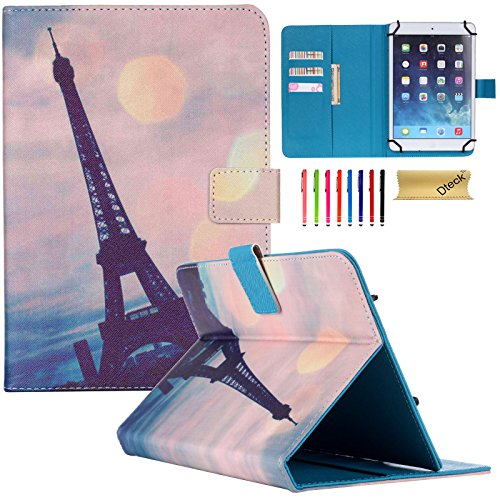 Dteck Universal Case for 9.5-10.5 inch Tablet - Nice Cute Slim Folio Stand Pocket Case Cover for Apple/Samsung/Kindle/Huawei/Lenovo/Android/Dragon Touch 9.7 9.6 10.1 10.5 Inch Tablet-Eiffel Tower
