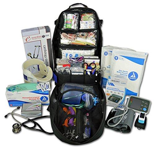 (Lightning X Premium Stocked Tactical EMS/EMT Trauma First Aid Responder Medical Kit Backpack - Black)