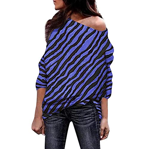 Shirred Zebra - XOWRTE Women's Tops Zebra Striped Print Off Shoulder Fall Winter Long Sleeve Blouse Tunic T-Shirt