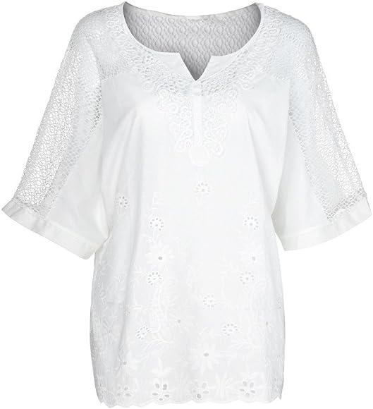 BBsmile Camisas Mujer Verano 2019 - O-Cuello Manga Corta Ahuecar Sólido Camiseta Metallica - Blusas para Mujer Elegantes Fiesta: Amazon.es: Ropa y accesorios